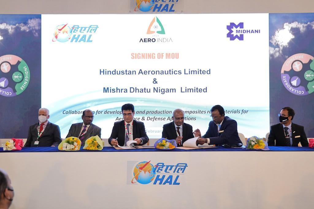 Hindustan Aeronautics Limited (HAL) has inked a Memorandum of Understanding (MoU) with MIDHANI at the ongoing airshow for composite materials.