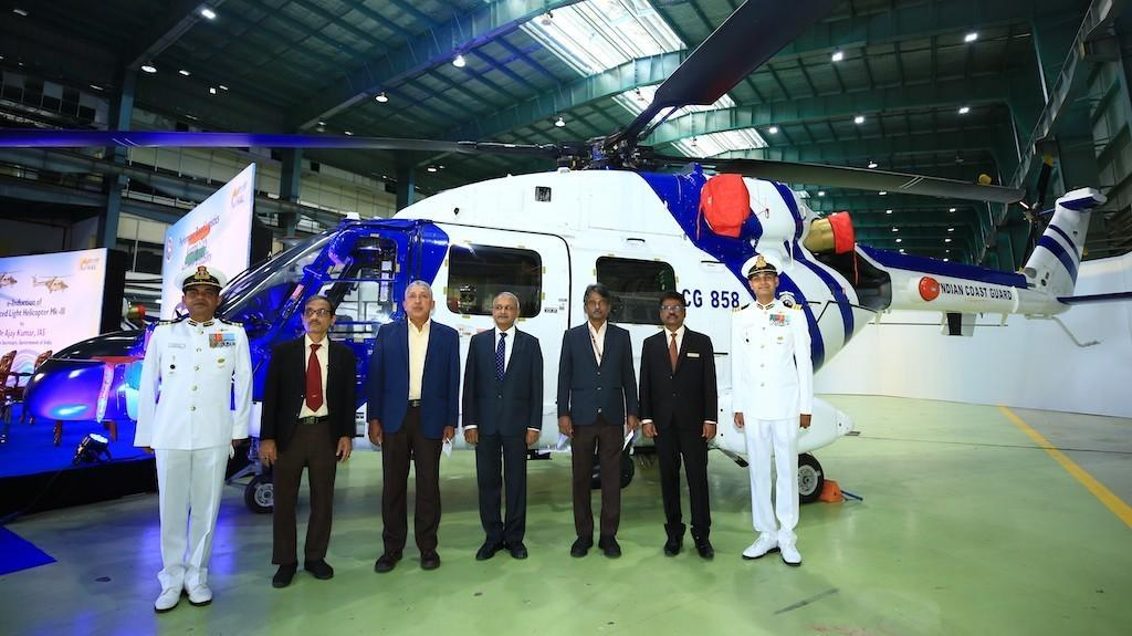 The Indian Coast Guard (ICG) takes delivery of three Dhruv Mk-III helicopters built by Hindustan Aeronautics Limited (HAL)